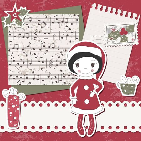 Christmas and New Year scrapbook card with cute girl , music notes and letter Vector