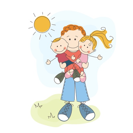 dad and daughter: Happy Father s Day, dad, son and daughter Illustration