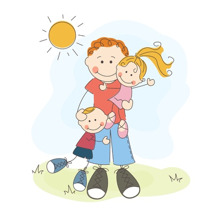 father  s day: Happy Father s Day, dad, son and daughter Illustration