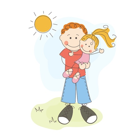 father s day: Happy Father s Day, dad and daughter Illustration