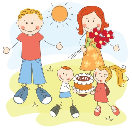 father s day: Happy Father s Day, dad, mom and children with cake Illustration