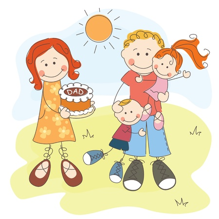 dad daughter: Happy Father s Day, dad, mom with cake and happy children