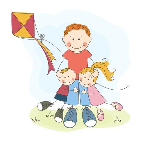 d�a s: Feliz D�a del Padre s, el pap� y los ni�os felices