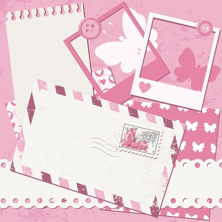 Baby girl greeting card with photo frame and envelope Vector