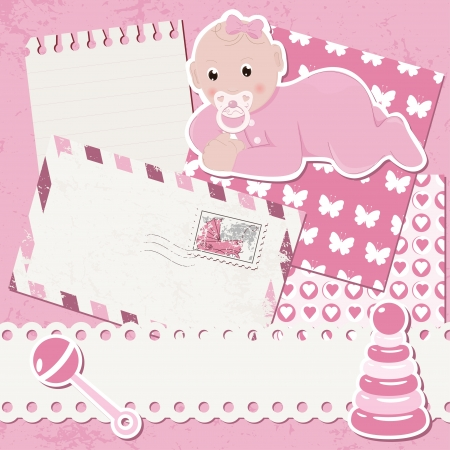 Vector baby girl scrapbook arrival card Vector