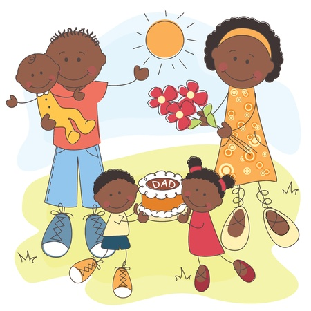 illustration of Happy African American Family   Father s Day Vector