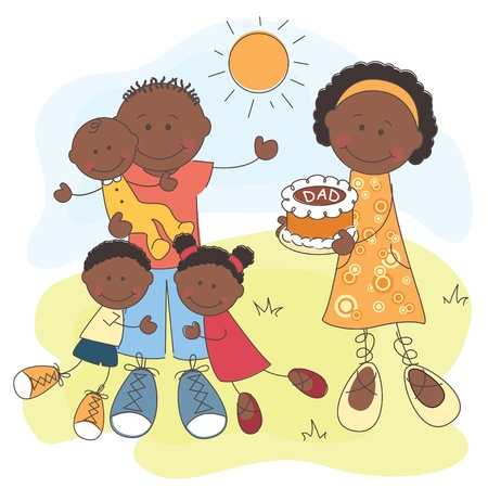 black family smiling: illustration of Happy African American Family   Father s Day Illustration