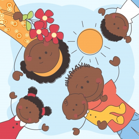 afroamericanas: Ilustraci�n vectorial de Familia Feliz afroamericano