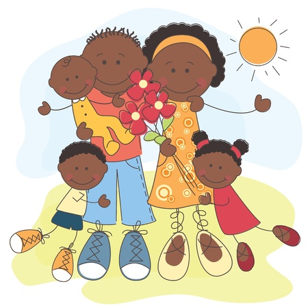 happy african: illustration of Happy African American Family Illustration