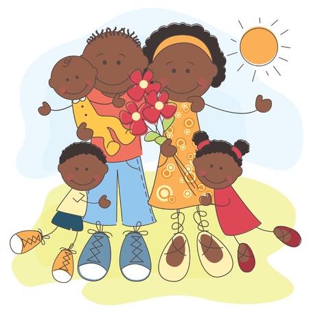 afroamericanas: ilustraci�n de la Familia Feliz afroamericano