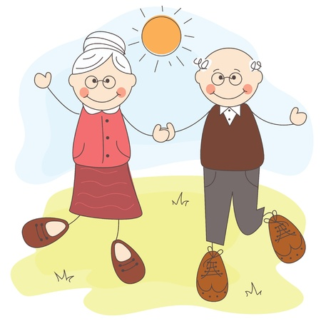 happy old people: illustration of Happy cute grandparents together
