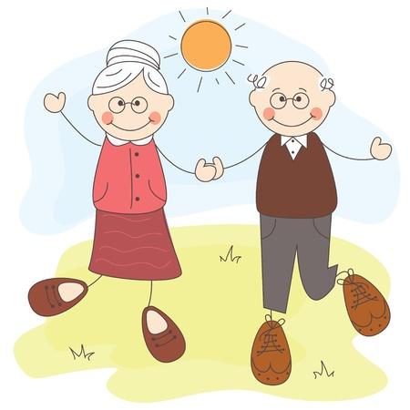 personas mayores: ilustración de los abuelos lindos felices juntos
