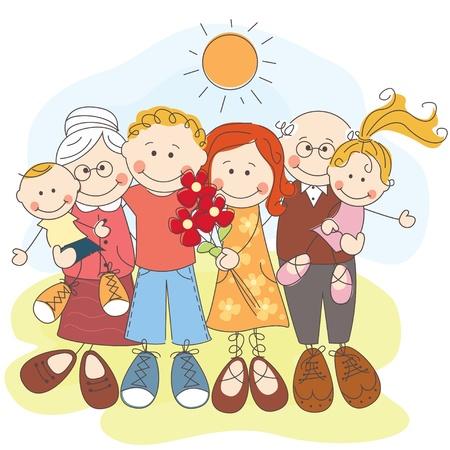 세대 행복 한 가족의 그림