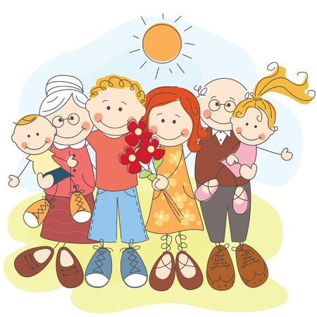 big smile: illustration of generation happy family Illustration
