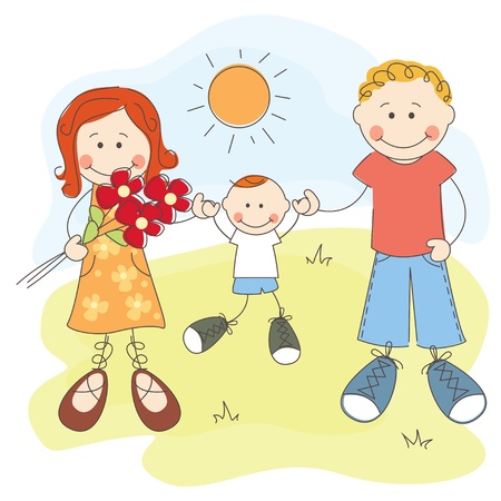 illustration of happy family  Dad, mom and son Vector