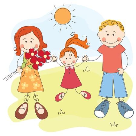 familia unida: Vector ilustraci�n de Pap� feliz familia, madre e hija