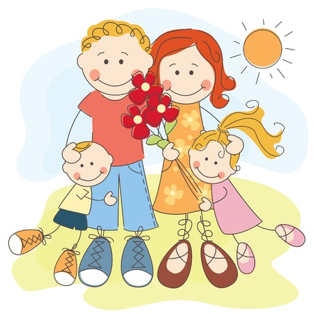 flowers boy: illustration of happy family  Parents , son and daughter Illustration