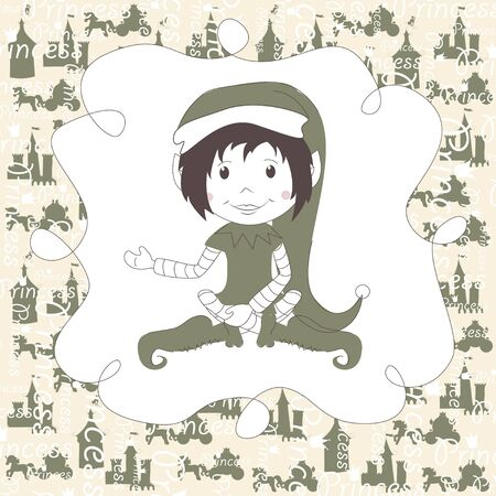 Christmas and New Year greeting card with Christmas Elf Vector