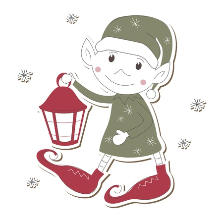 a legend of magic: Christmas Elf on white background