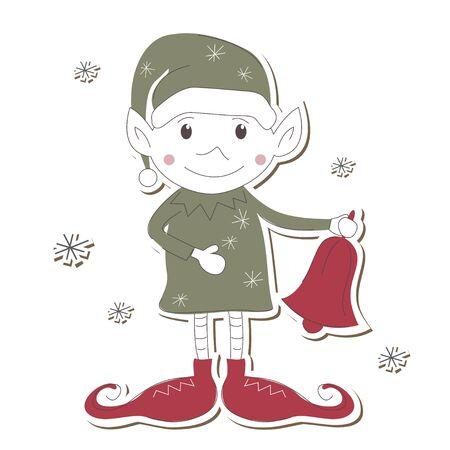 Christmas Elf on white background  Vector