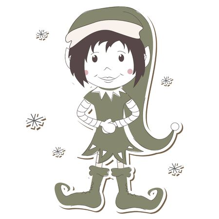 Christmas Elf on white background  Vector