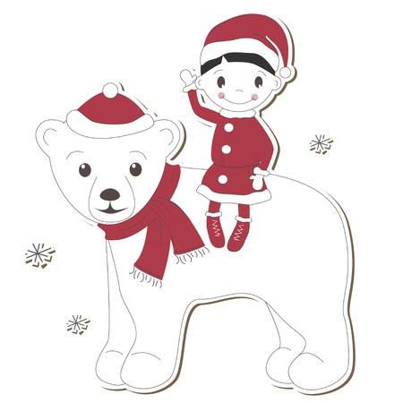 Christmas  white bear and boy on white background Stock Vector - 14166143