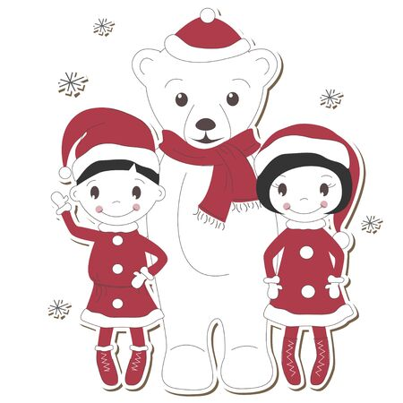 Christmas white bear with  boy and girl isolated on white background  Vector