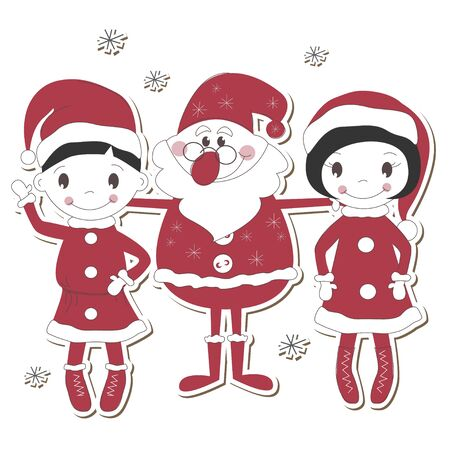 Santa, boy and girl isolated on white background  Vector