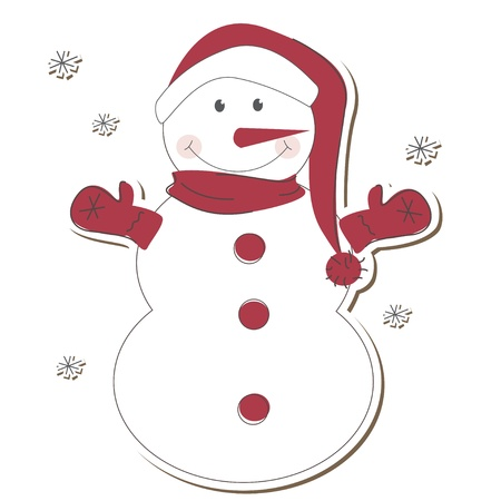 Christmas  snowman isolated on white background  Vector