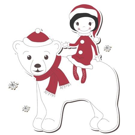 Christmas girl and white bear on white background  Stock Vector - 14166142