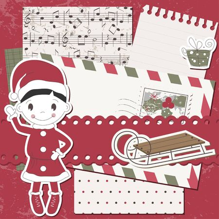Christmas and New Year scrapbook card  Vector