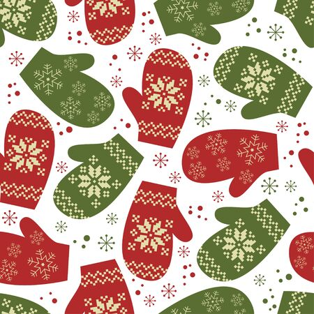 Christmas seamless pattern , mittens with winter traditional ornament