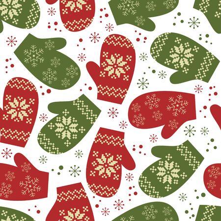 Navidad sin fisuras patrón, guantes con adornos tradicionales de invierno