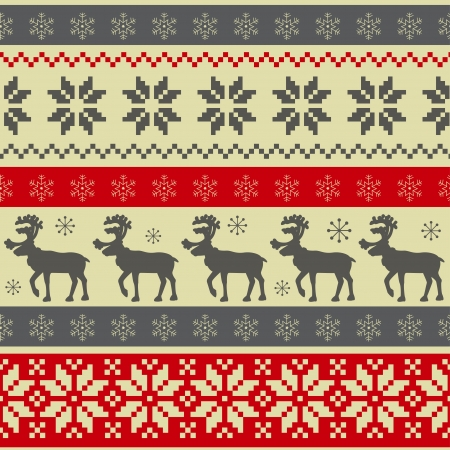 Folk style Christmas seamless pattern with deers  and ornament.