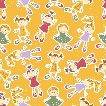 seamless background with cute girls Vector