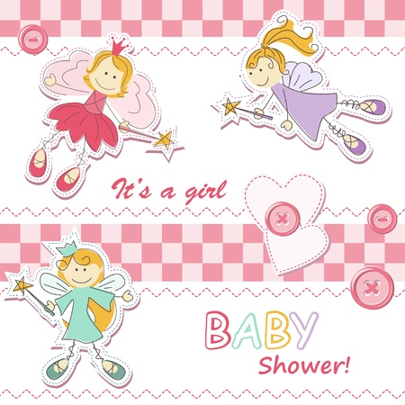 cute fairy: Baby girl announcement card with fairy