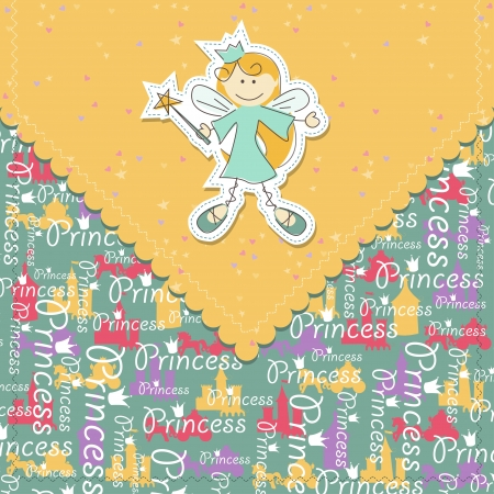 girl scrapbook greeting card with fairy  Vector