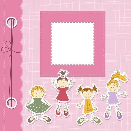 Vector girl scrapbook card with cartoon girls and place for text Vector