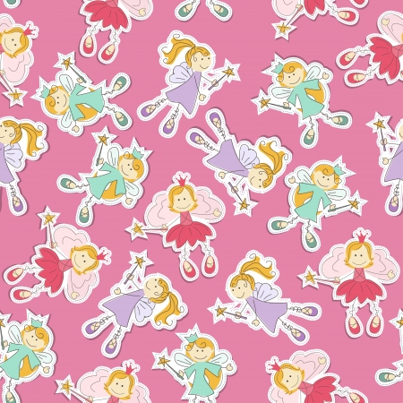 fairy princess: Seamless pattern with cute fairy and magic wand