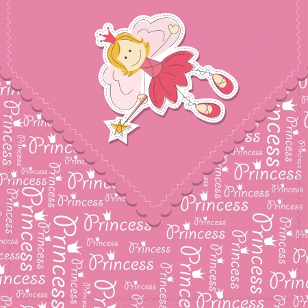 fairy wand: Girl greeting card with fairy and magic wand Illustration