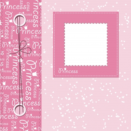 Girl scrapbook greeting card with place for text Vector