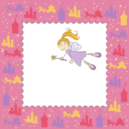 cute fairy: Girl greeting card with fairy and magic wand Illustration