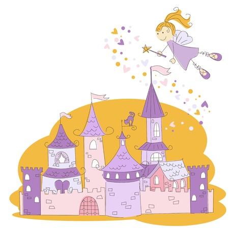 Vector illustration of a fairy with magic wand and princess castle  Ilustração