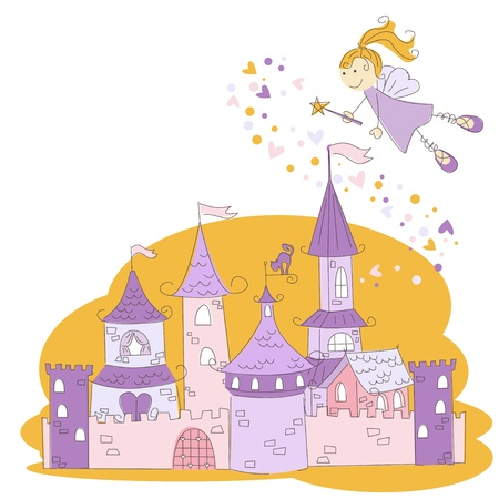 Vector illustration of a fairy with magic wand and princess castle  Vector