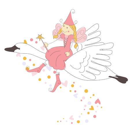 Ilustración vectorial con hadas lindo volar en un cisne