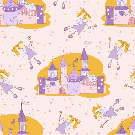 Seamless pattern with princess castle and flying fairy Vector