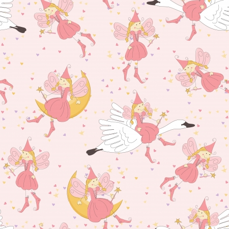 little princess: Seamless pattern with flying fairy, vector illustration