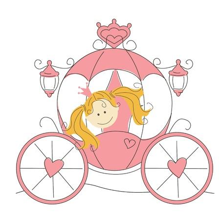 Vector illustratie met schattige kleine prinses in de wagen