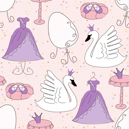 Seamless pattern with princess dress, magic shoes, mirror and cute swan