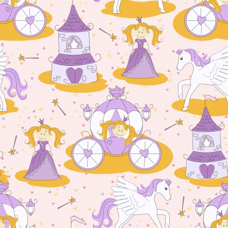 wonderland: Seamless pattern with a princess , magic wand, little pony, carriage and princess castle